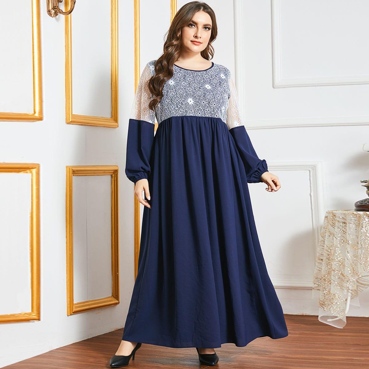 Контрастные кружева Контрастный цвет Элегантный Платья размер плюс