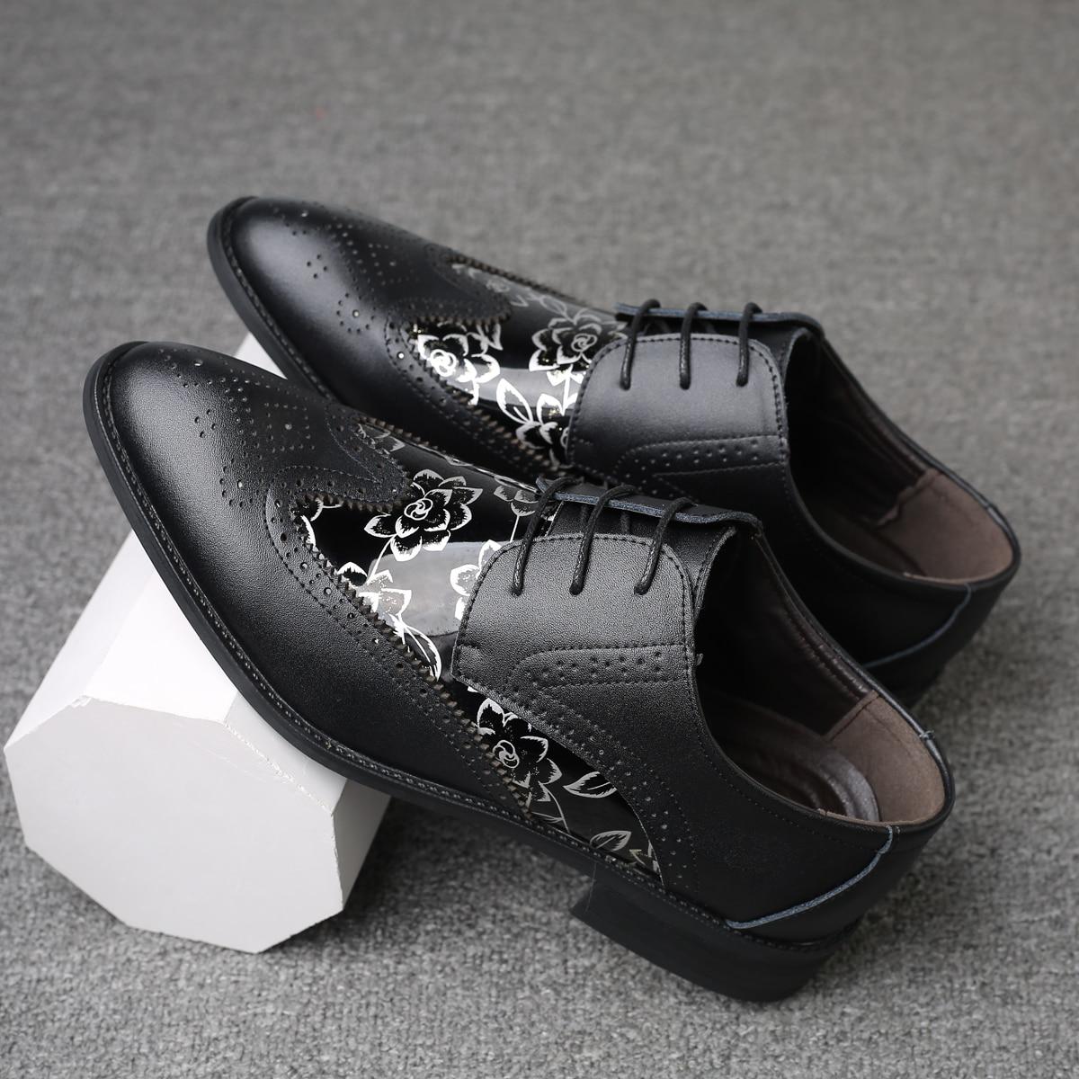 Мужские официальные туфли с цветочным принтом
