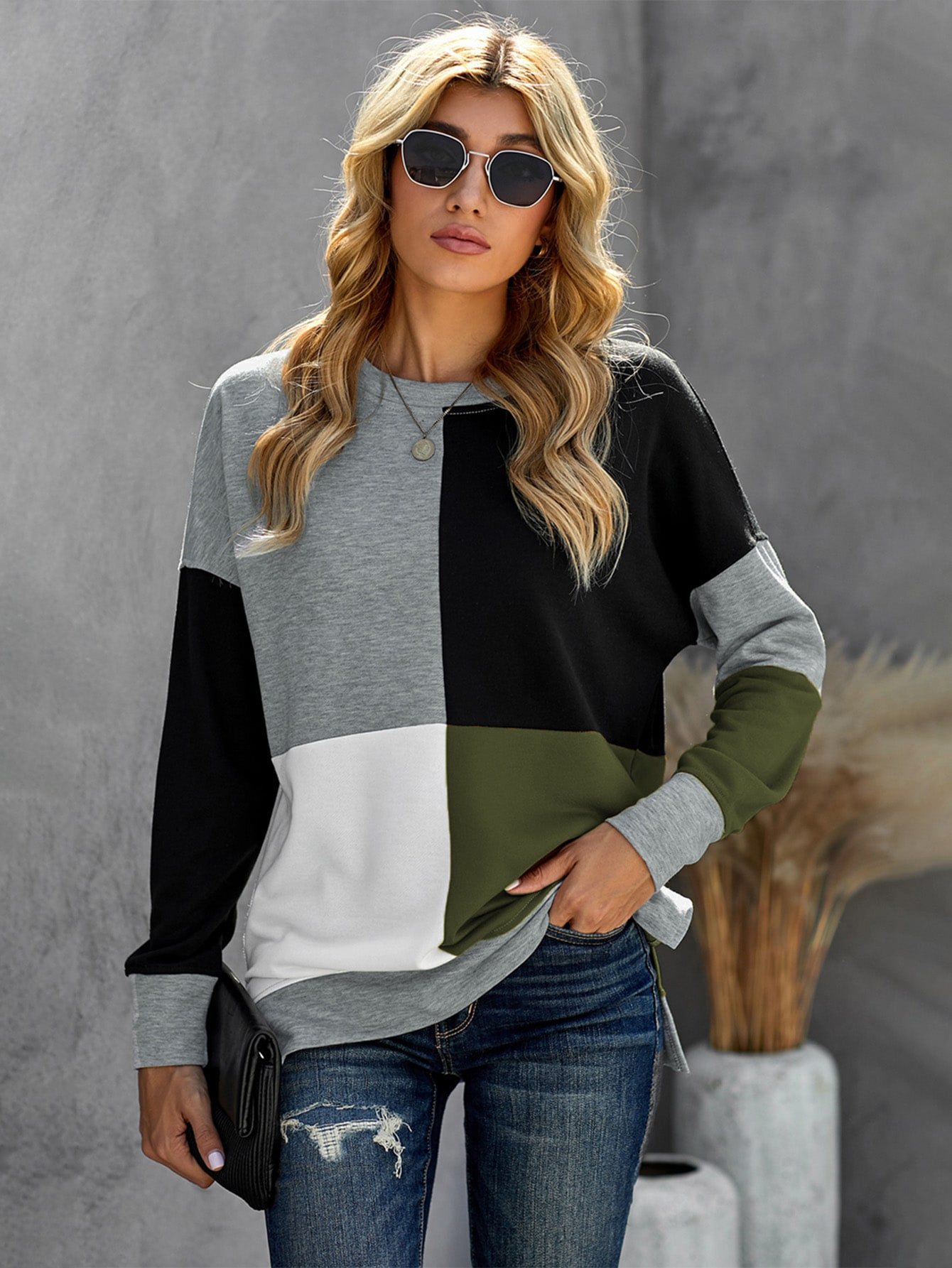 Color Block Drop Shoulder Sweatshirt thumbnail