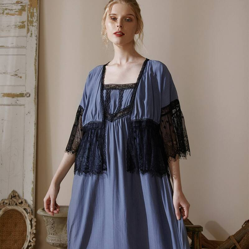 Contrast Lace Slip Nightdress & Robe, Dusty blue