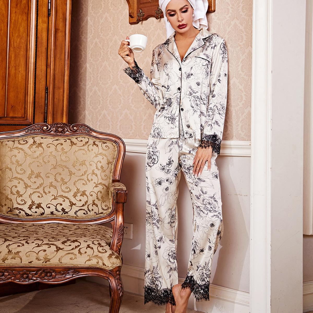 с карманами Цветочный принт Элегантный Комплект пижамы
