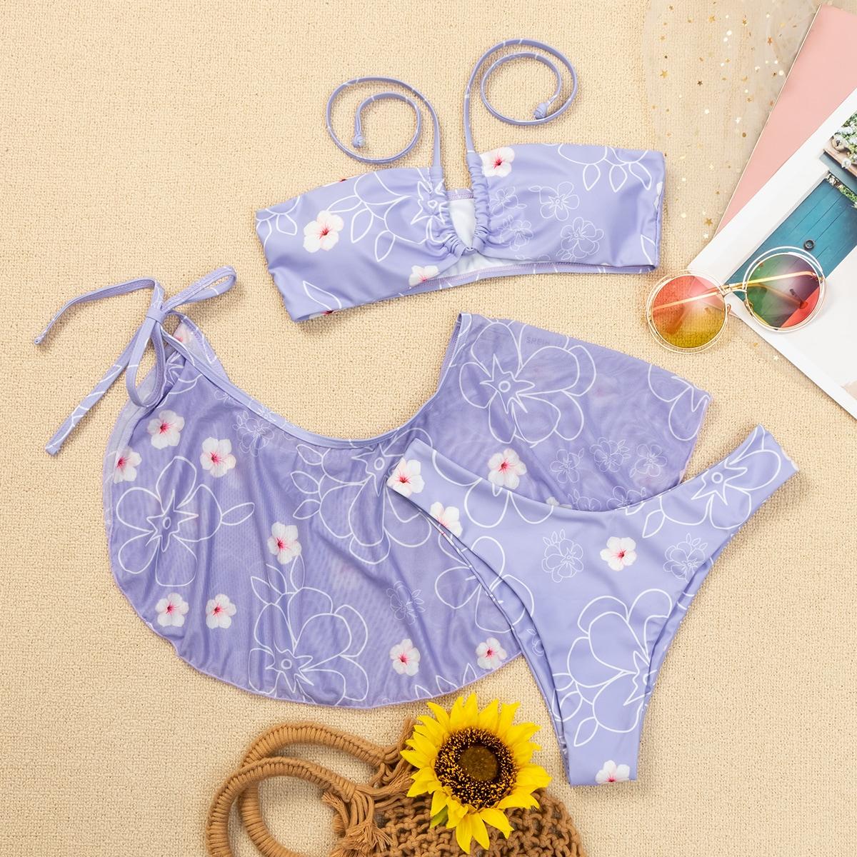SHEIN / 3pack Floral Halter Bikini Swimsuit & Beach Skirt