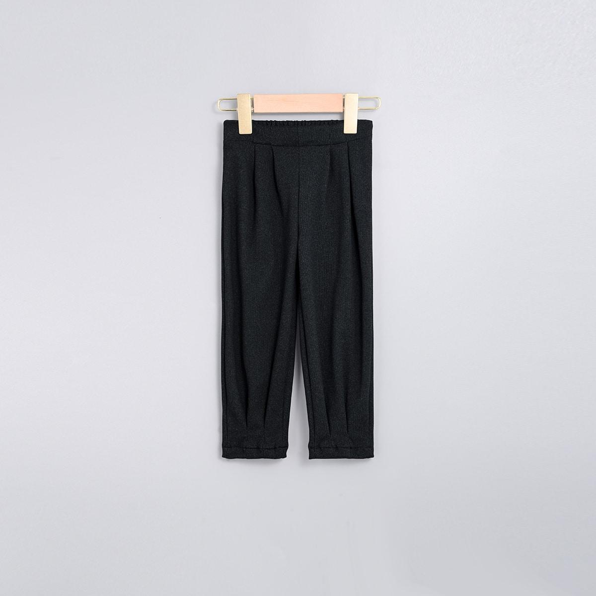 Декоративные складки одноцветный повседневный брюки для маленьких девочек