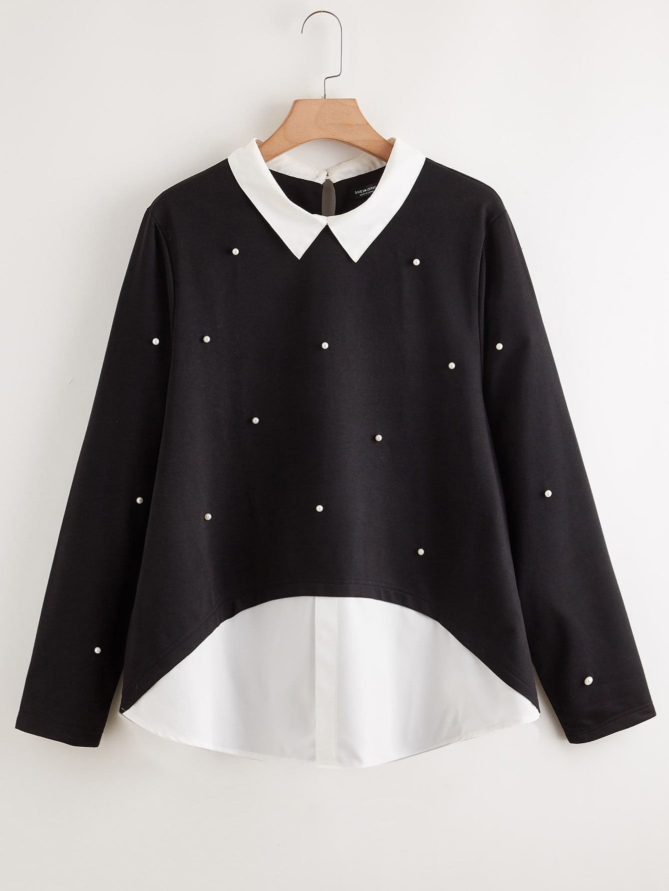 Plus 2 In 1 Pearls Beaded Contrast Collar Top thumbnail