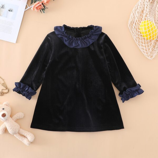 Baby Girl Ruffle Trim Velvet Dress, Black