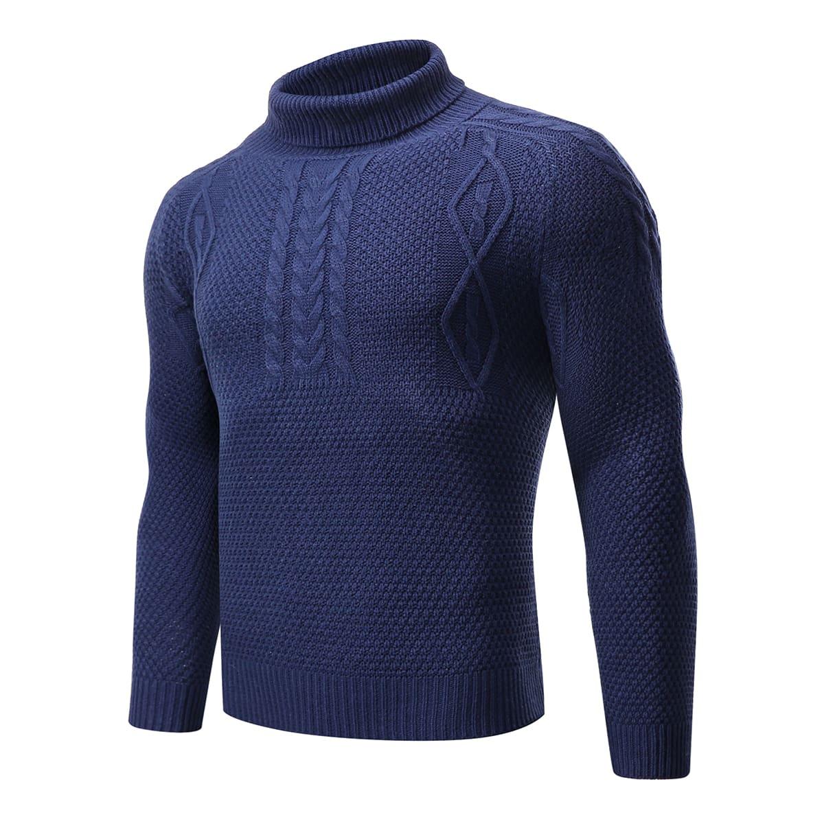 Jersey tejido de cable de cuello de tortuga