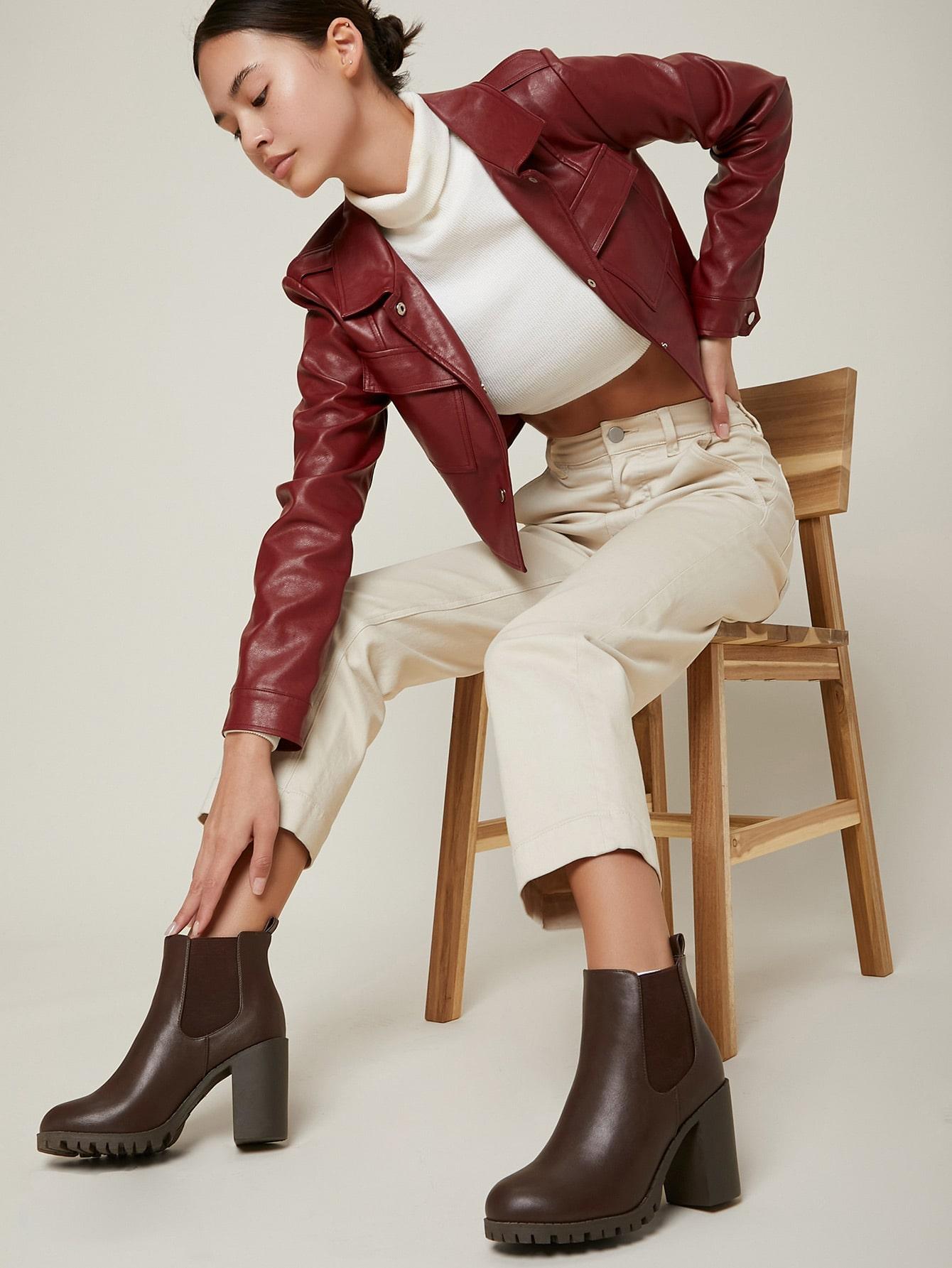 Vegan Leather High Heel Chelsea Boots