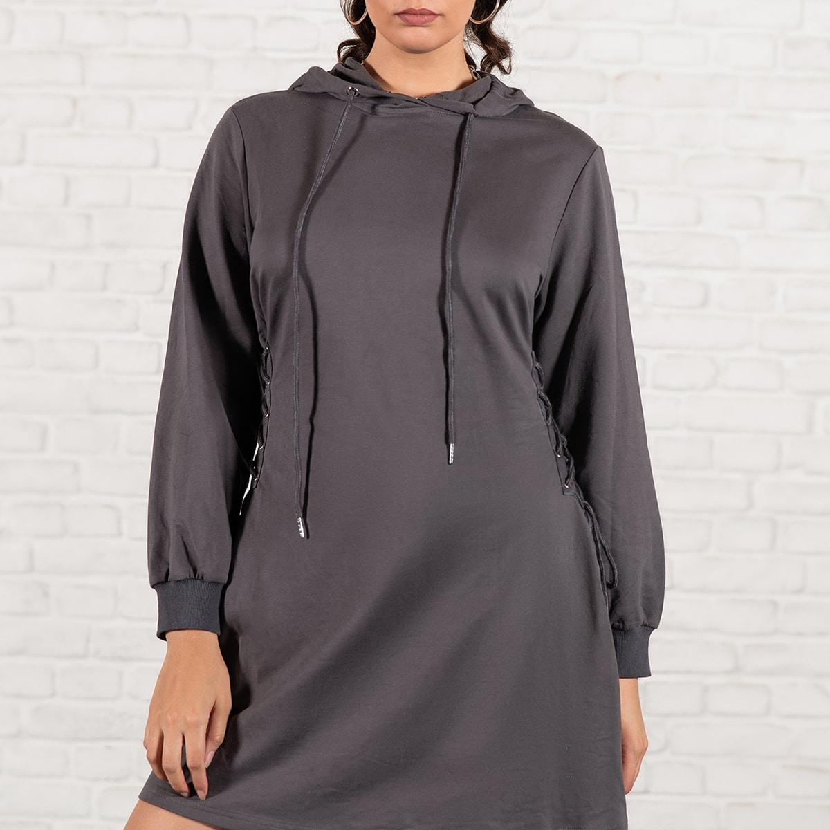Платье-свитшот размера плюс на кулиске с капюшоном и шнурком