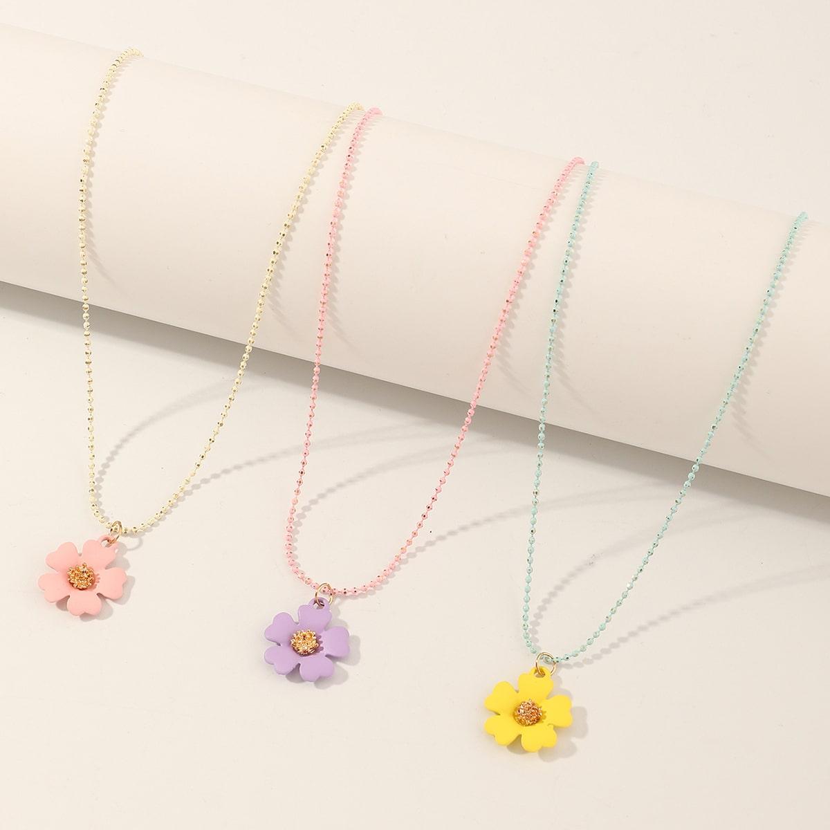3 pezzi collana con ciondolo floreale da ragazza