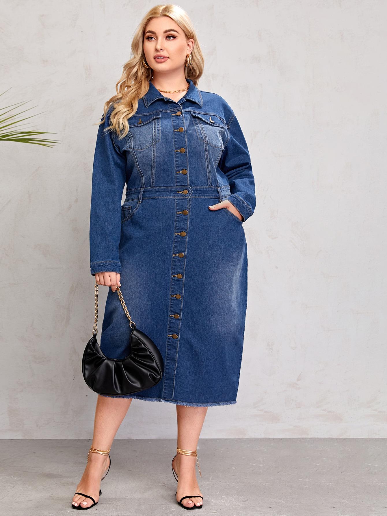 Plus Flap Pocket Button Front Denim Dress thumbnail