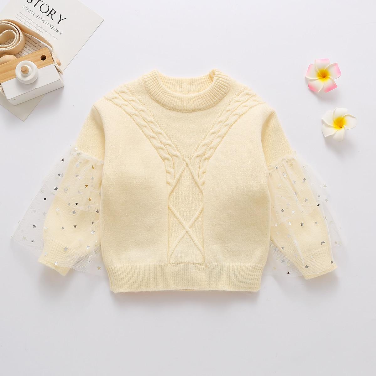 Контрастные блестки принт космос милый свитеры для девочек