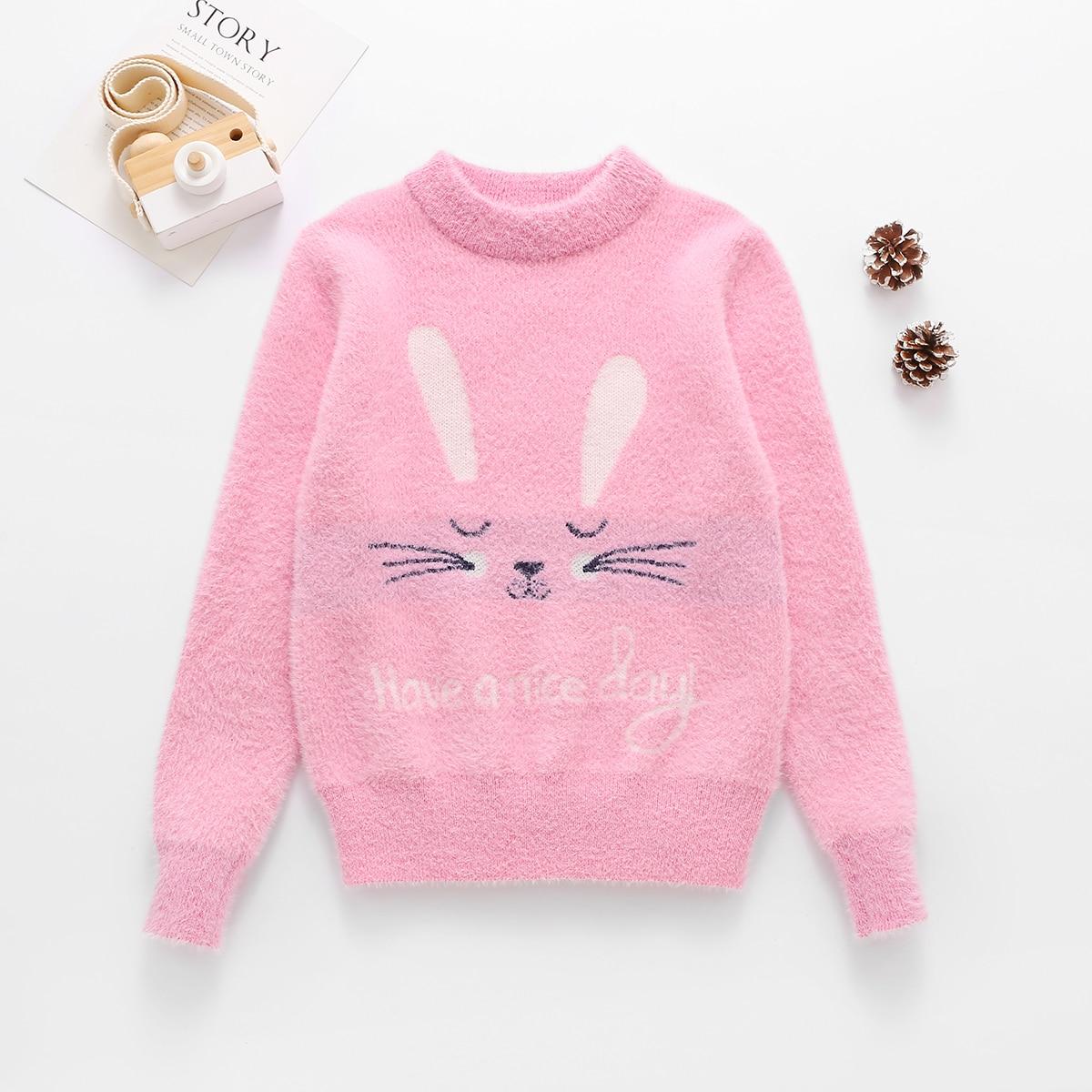 С вышивкой с карикатурой милый свитера для девочек