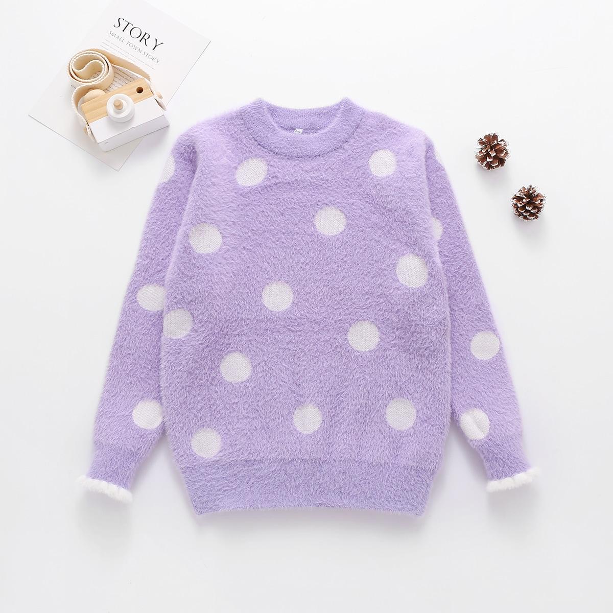 Оборка в горошёк повседневный свитера для девочек