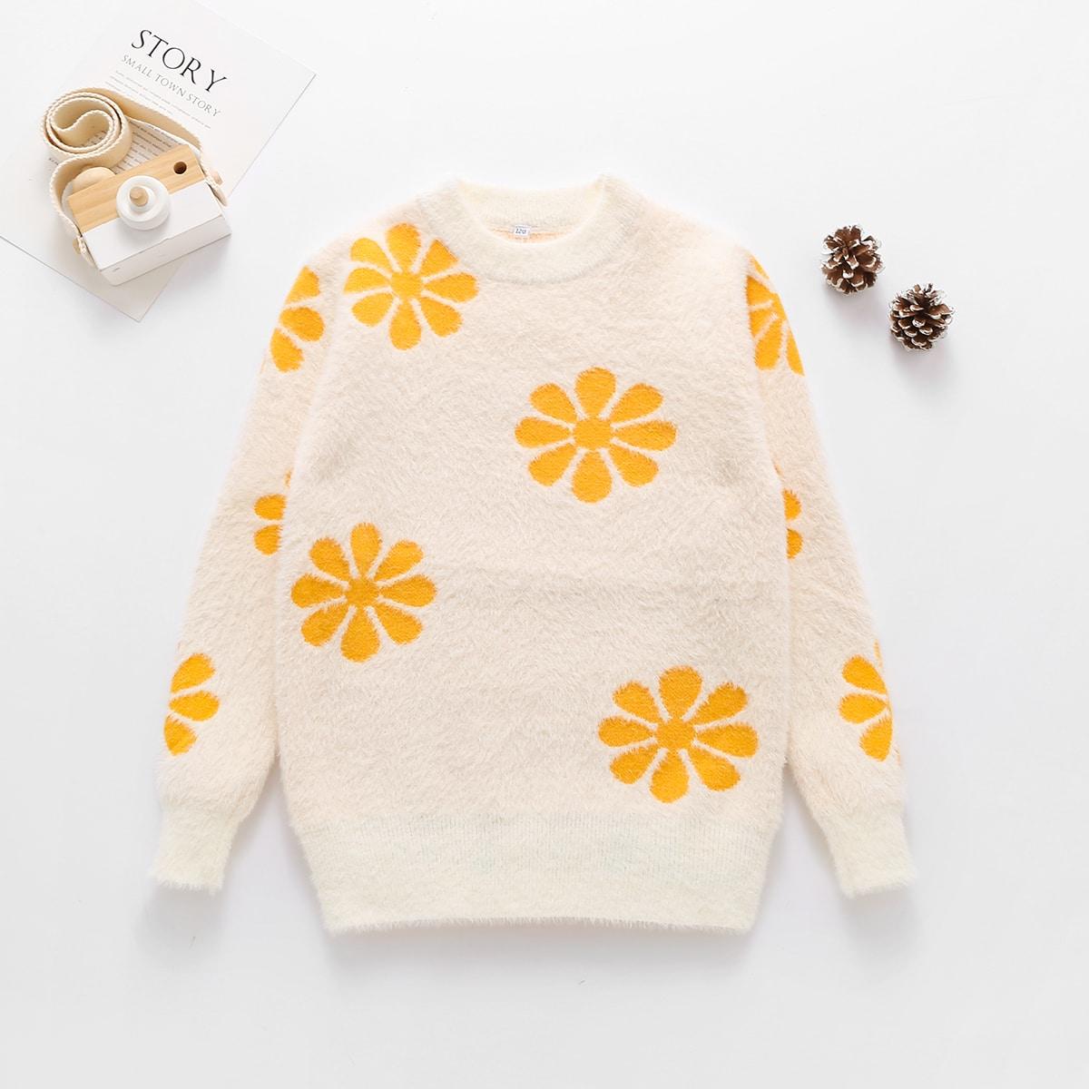 Цветочный повседневный свитера для девочек