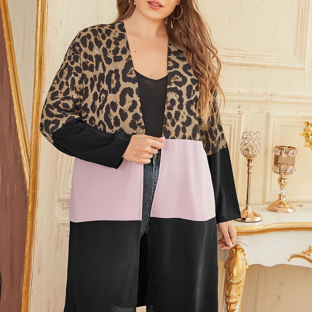 Леопард повседневный кимоно размер плюс