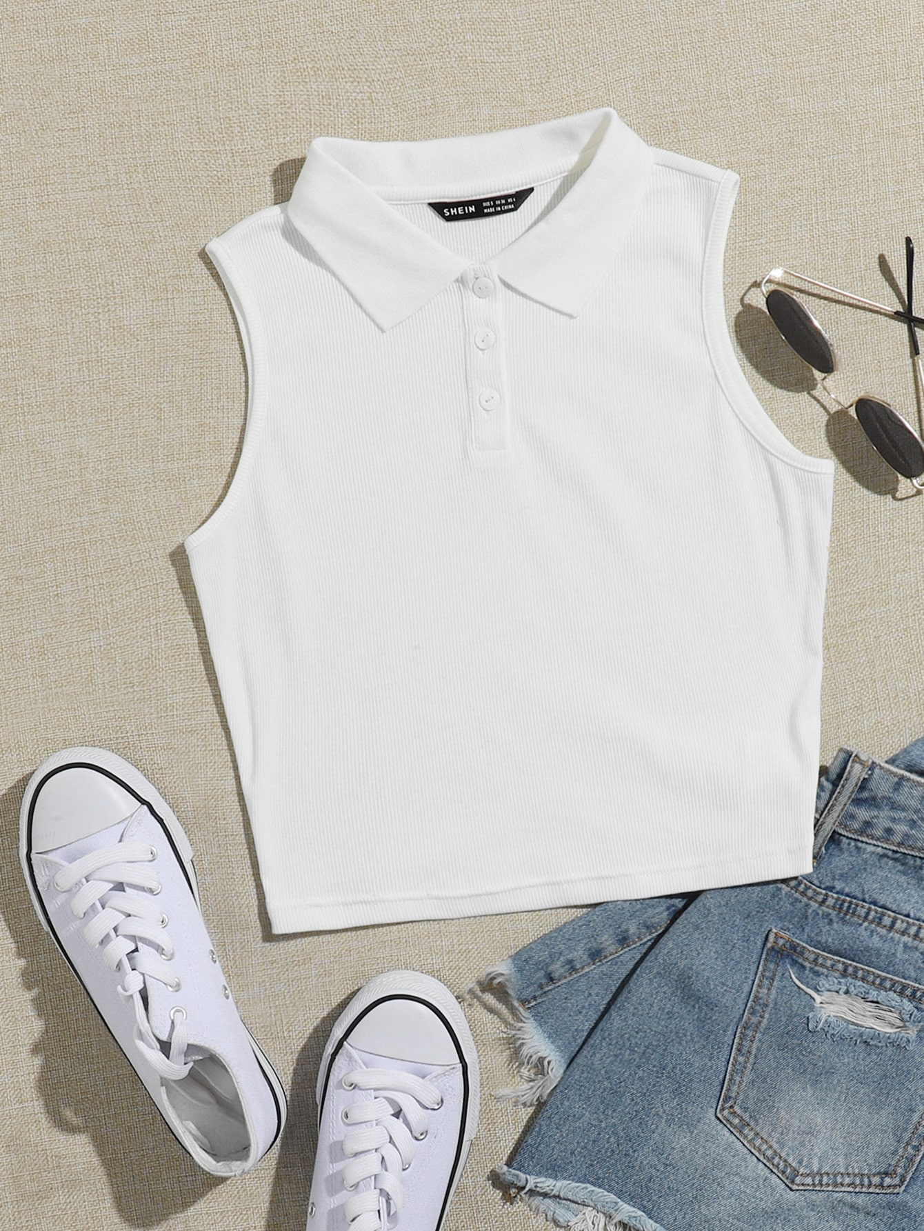 Collared Buttoned Half Placket Tank Top thumbnail