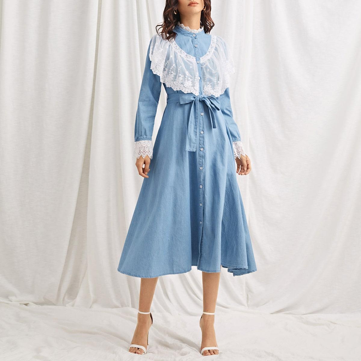 shein Casual Bloemen Denim jurk Borduurwerk