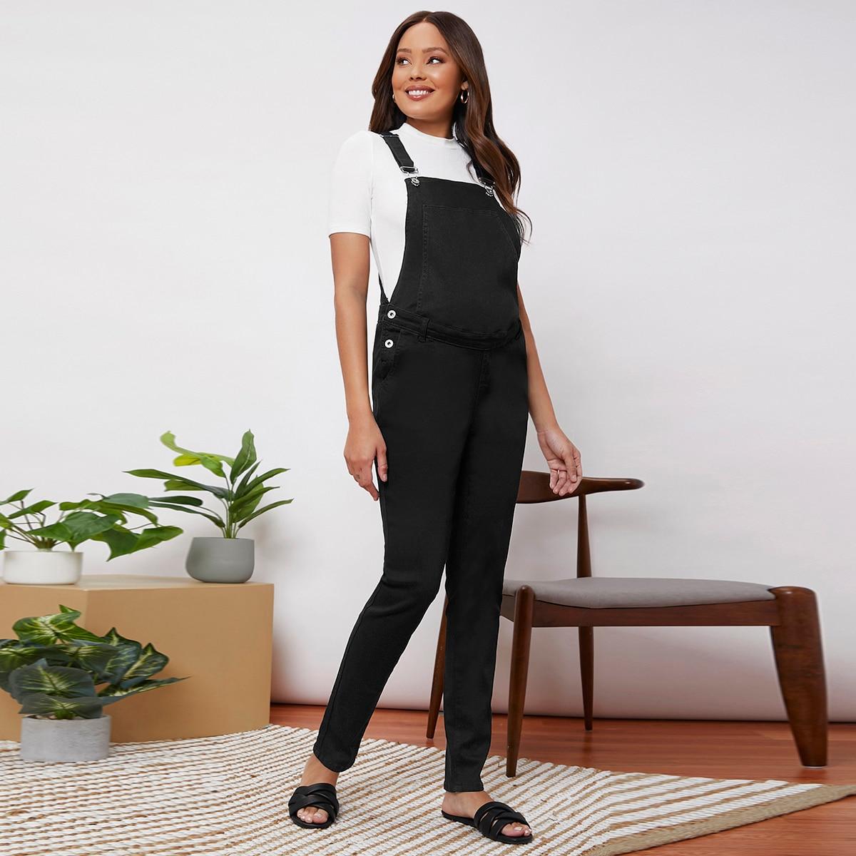 Пуговица ровный цвет джинсовая одежда для беременных