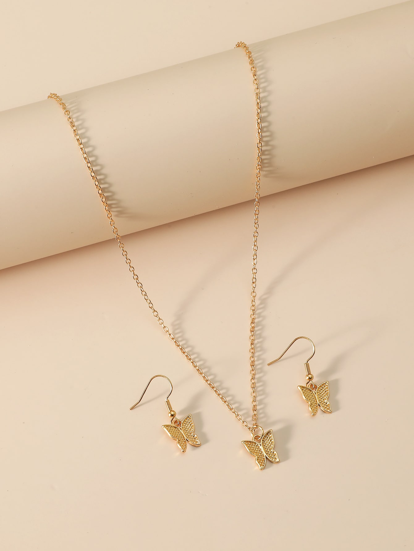 Butterfly Charm Necklace & Earrings thumbnail