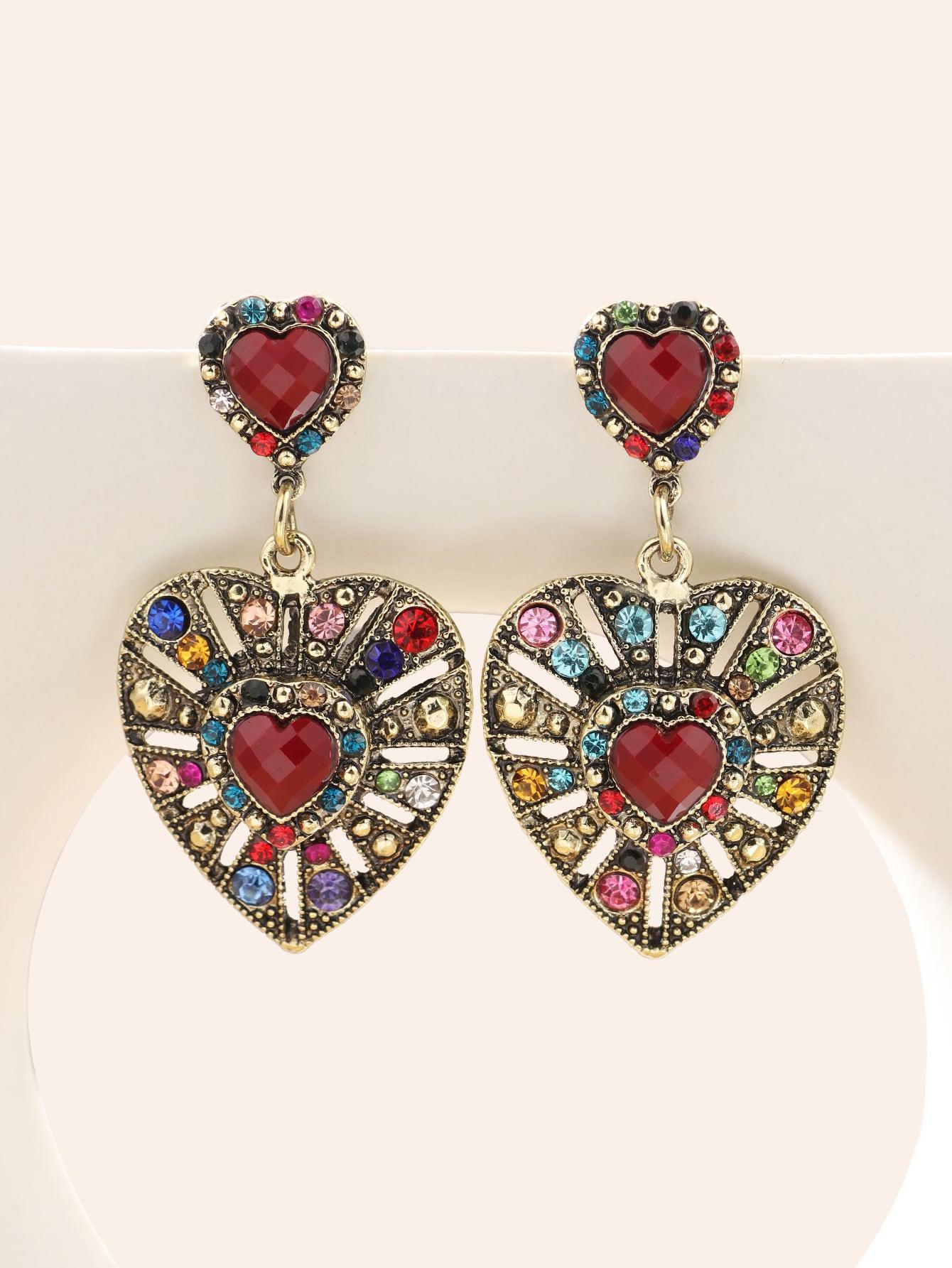 Rhinestone Heart Drop Earrings thumbnail