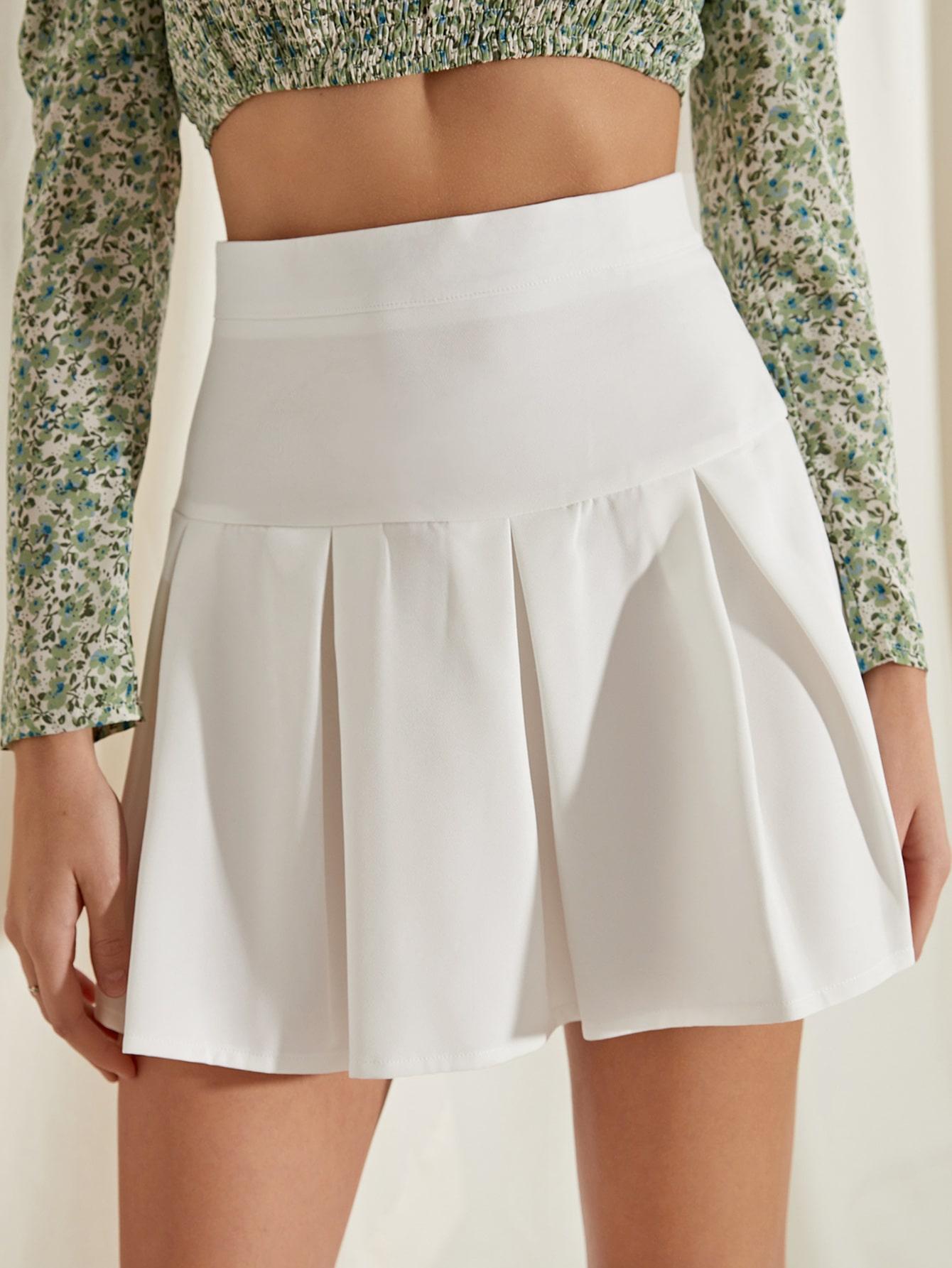 High Waist Pleated Hem Skirt thumbnail