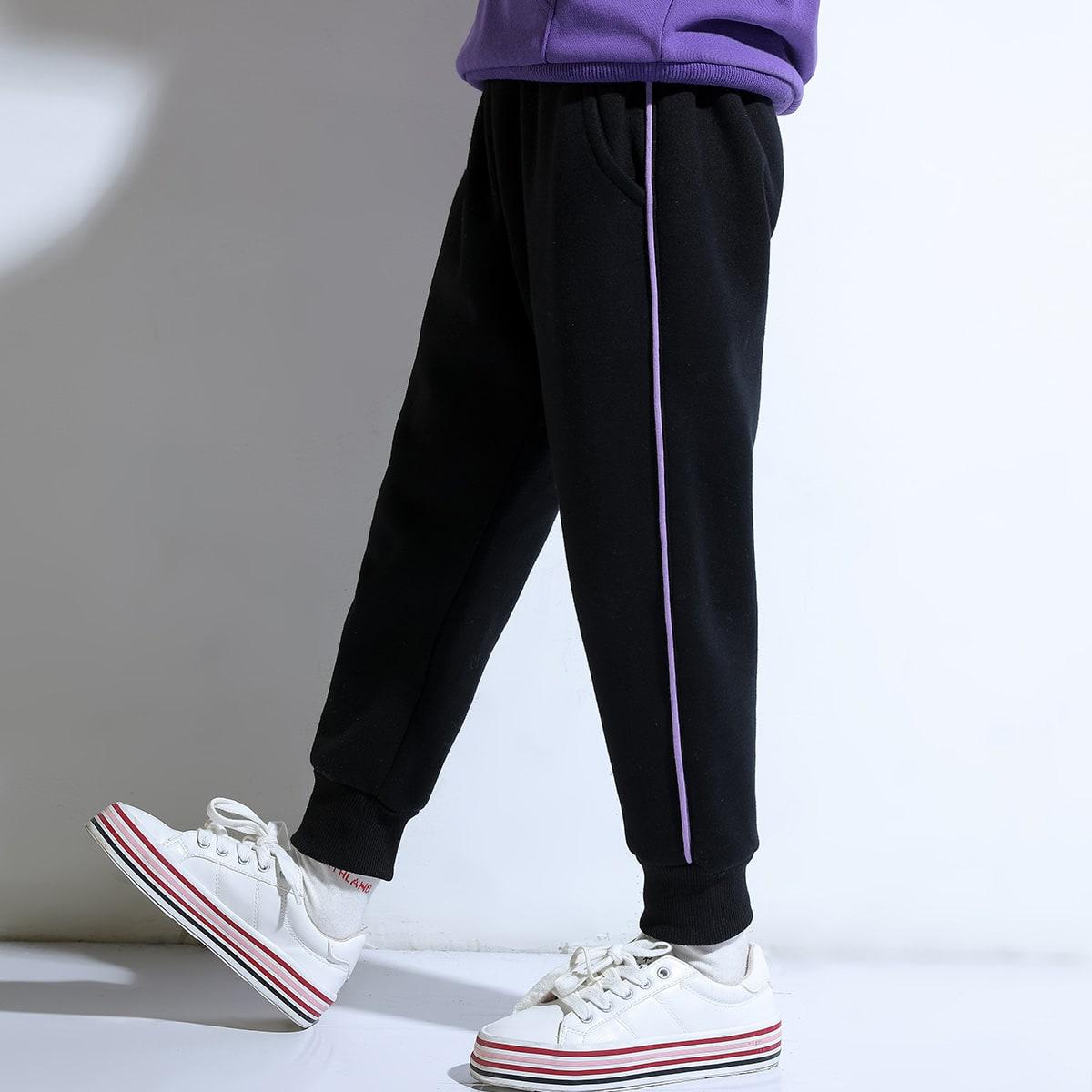 Контрастная отделка повседневный брюки для девочек