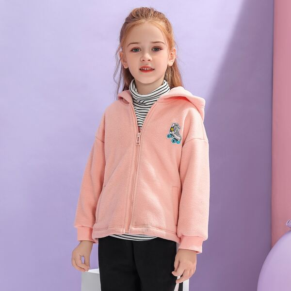 Girls Roller Skating Patched Hooded Teddy Coat, Baby pink