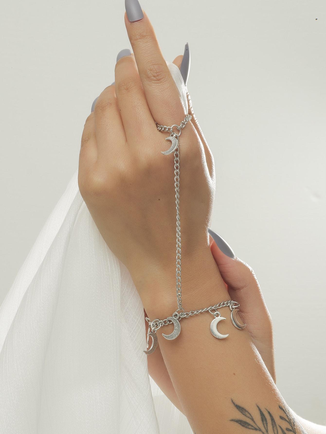 Moon Charm Finger Bracelet thumbnail