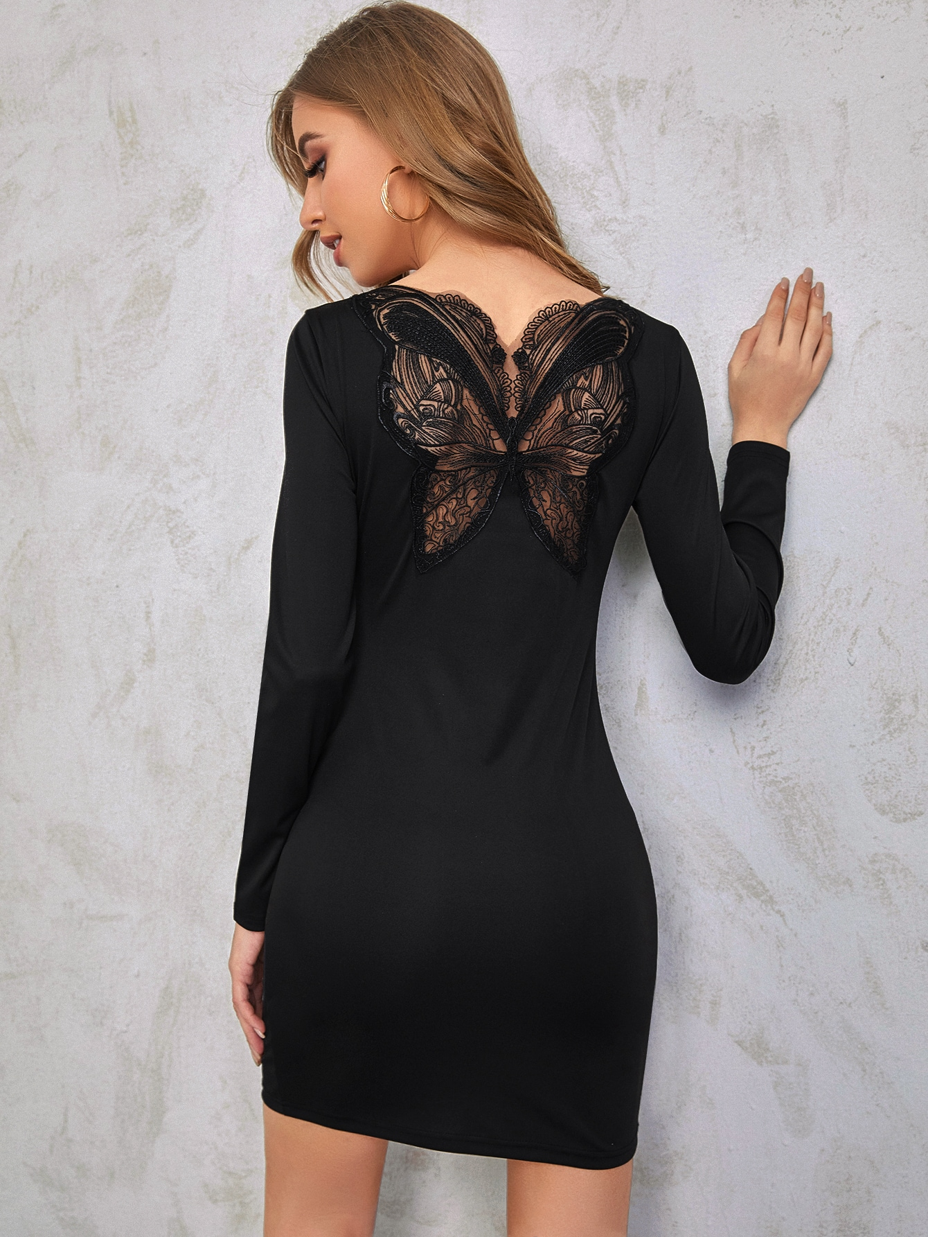 Lace Panel Solid Bodycon Dress thumbnail
