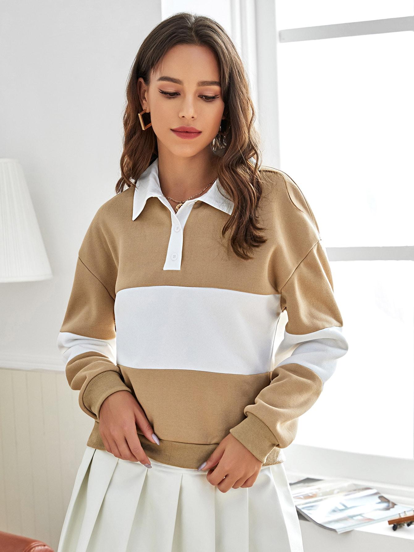 Drop Shoulder Color-block Sweatshirt thumbnail