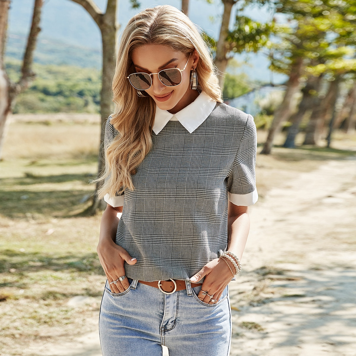 Contrast Collar Houndstooth Blouse, SHEIN  - buy with discount