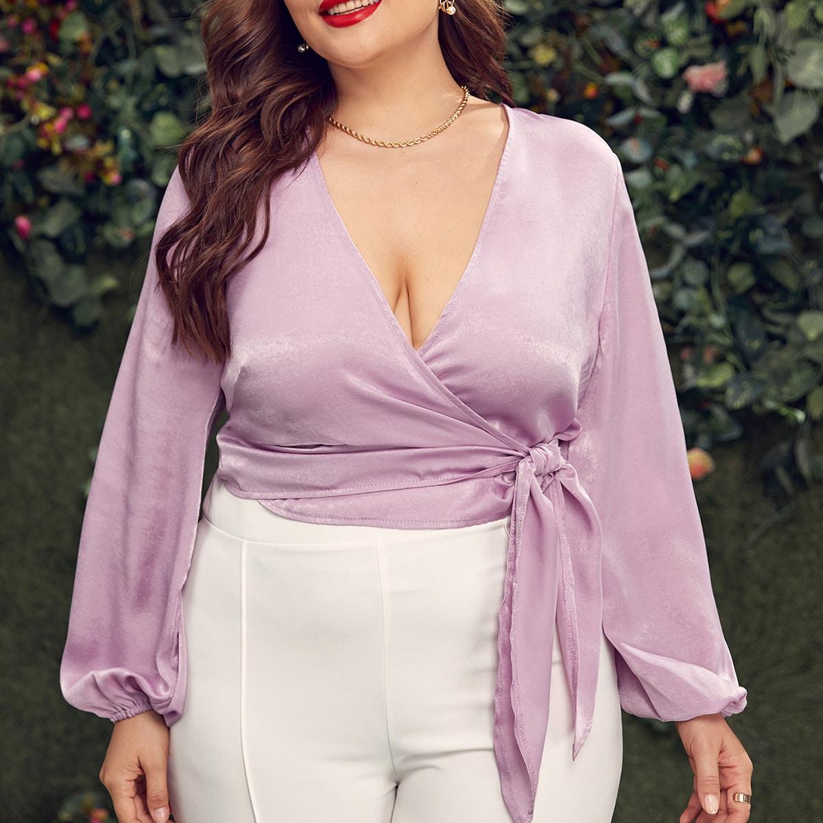 На запах Одноцветный Элегантный Блузы размер плюс