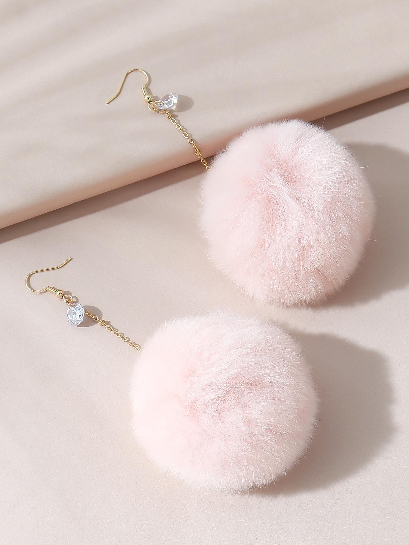 Fluffy Pom Pom Drop Earrings thumbnail