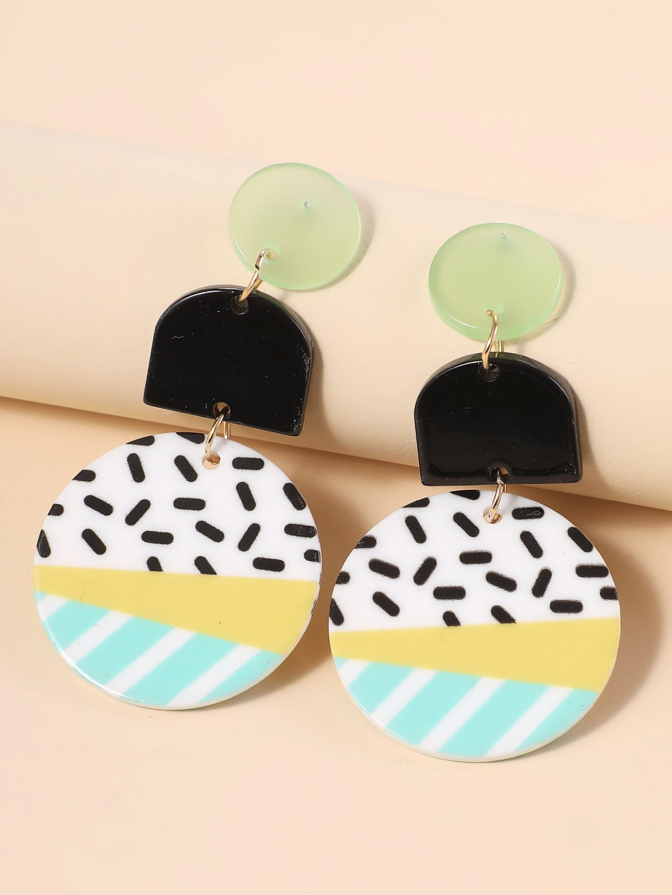 Color Block Round Drop Earrings thumbnail