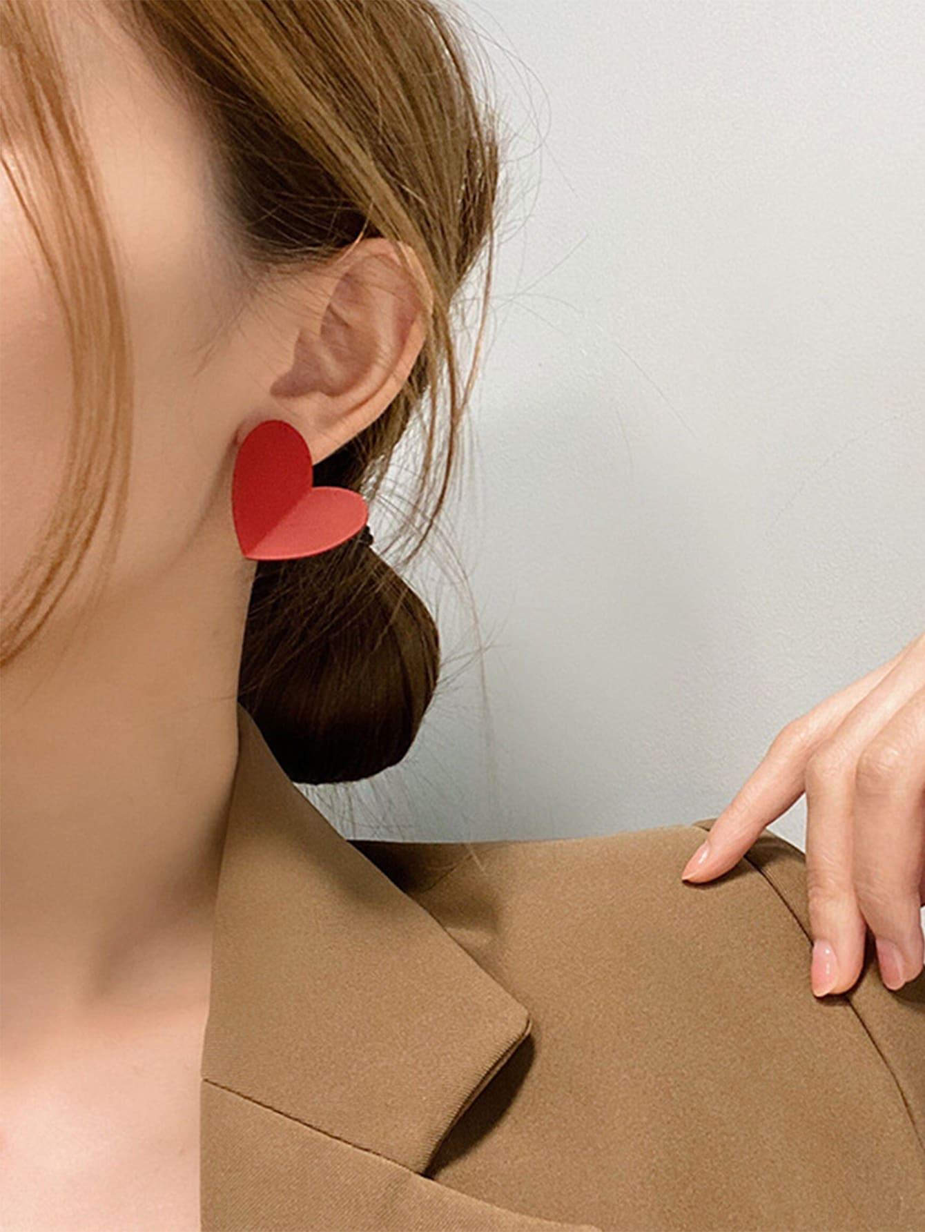 Red Heart Stud Earrings thumbnail