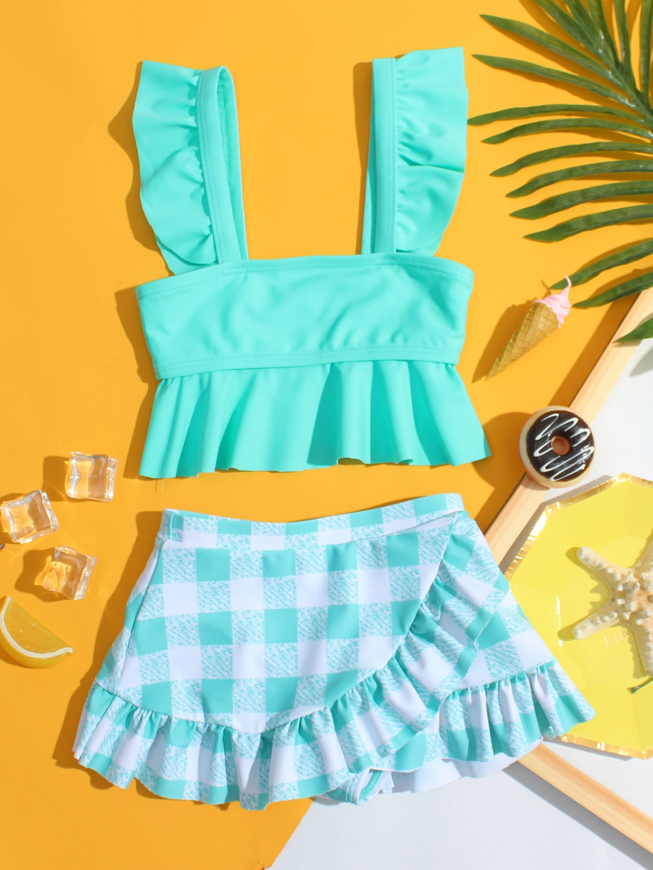 Toddler Girls Gingham Ruffle Skirt Bikini Swimsuit