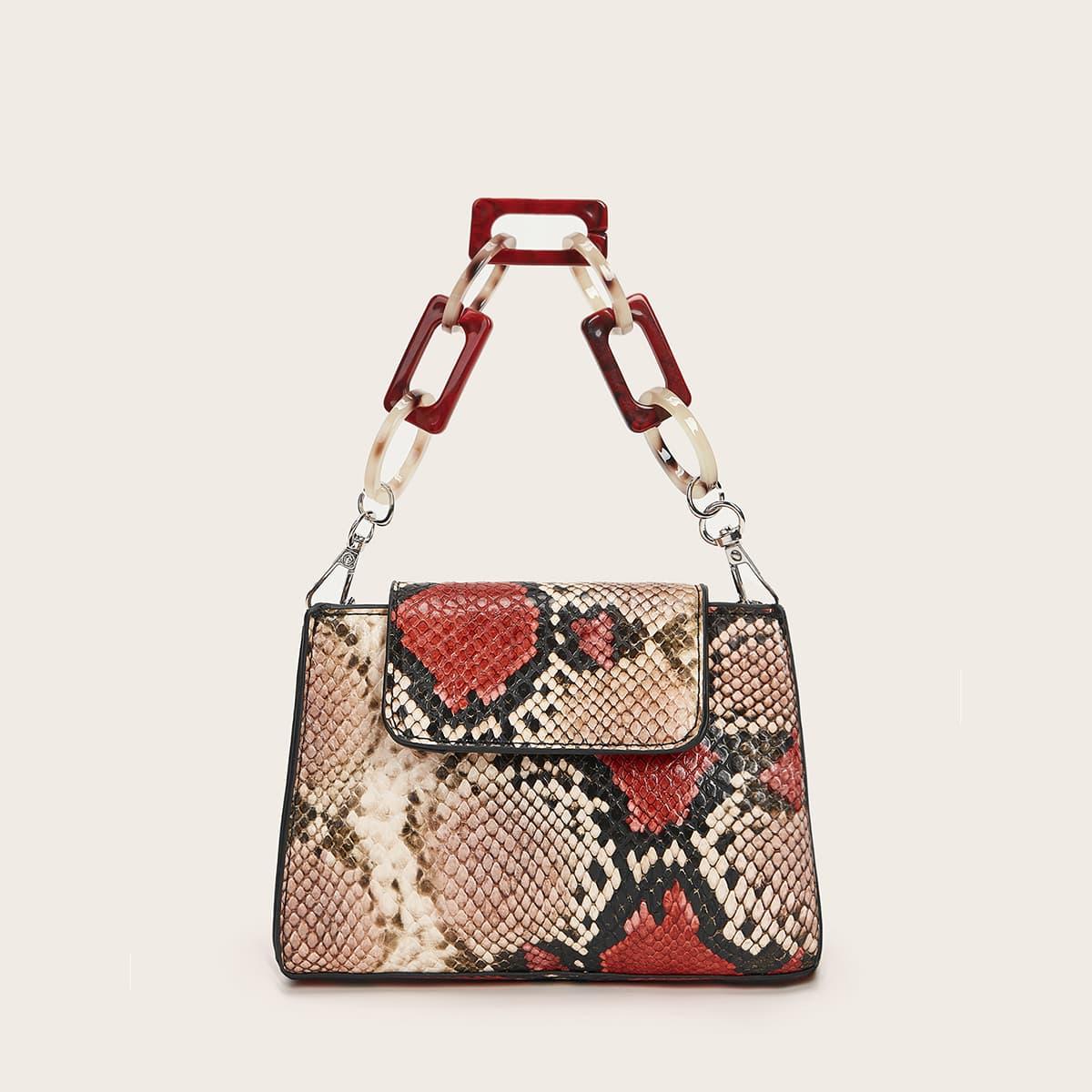 SHEIN / Snakeskin Print Chain Satchel Bag