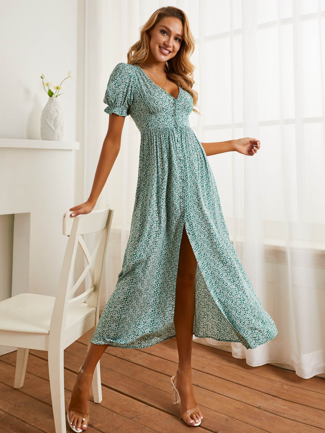 Puff Sleeve Button Front Ditsy Floral Dress thumbnail