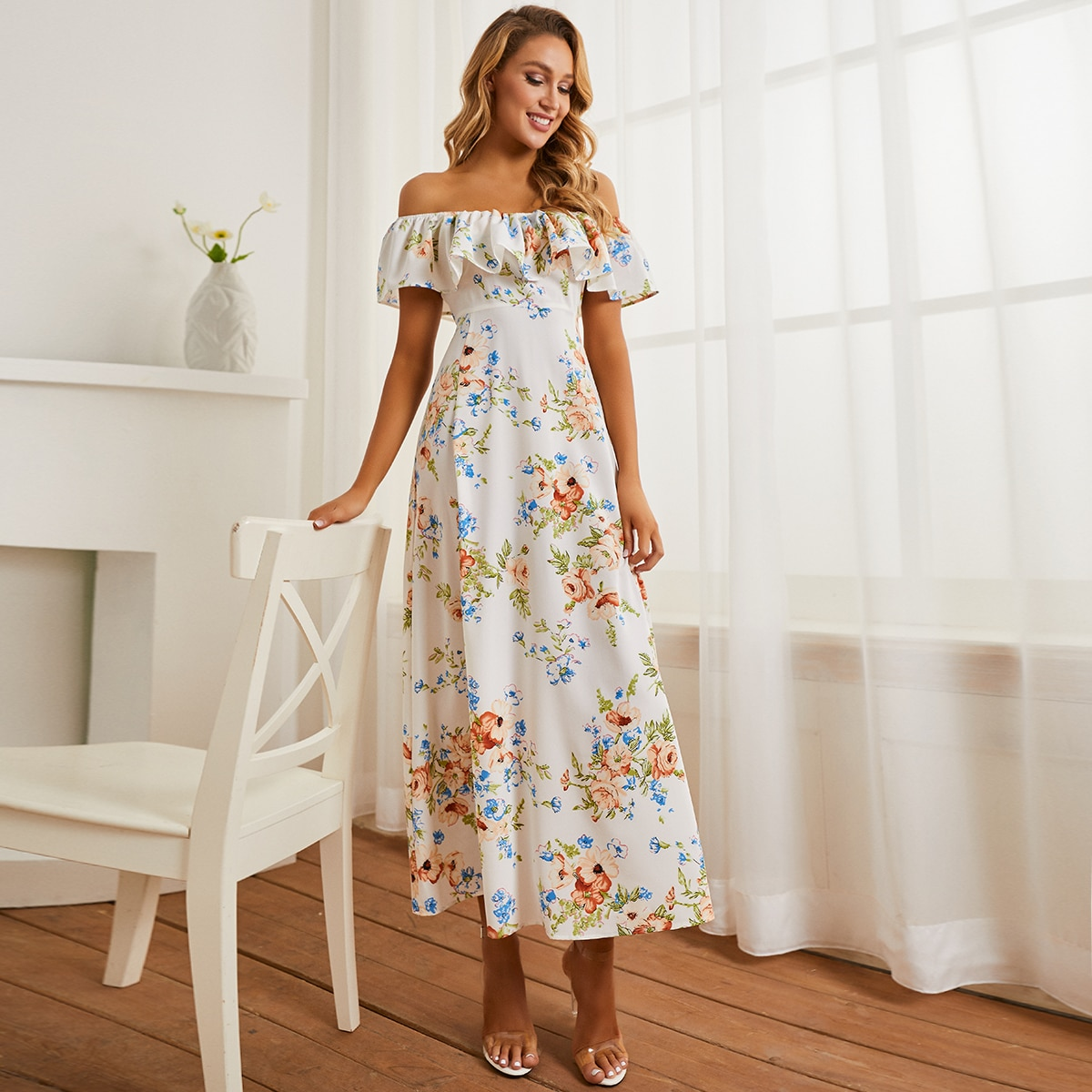 на молнии Цветочный принт Элегантный Платье