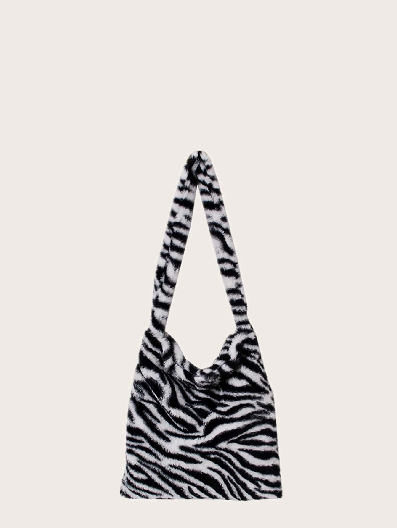 Zebra Print Fluffy Shoulder Bag thumbnail