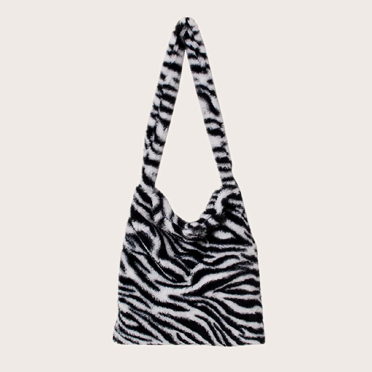 Flauschige Schultertasche mit Zebra Muster