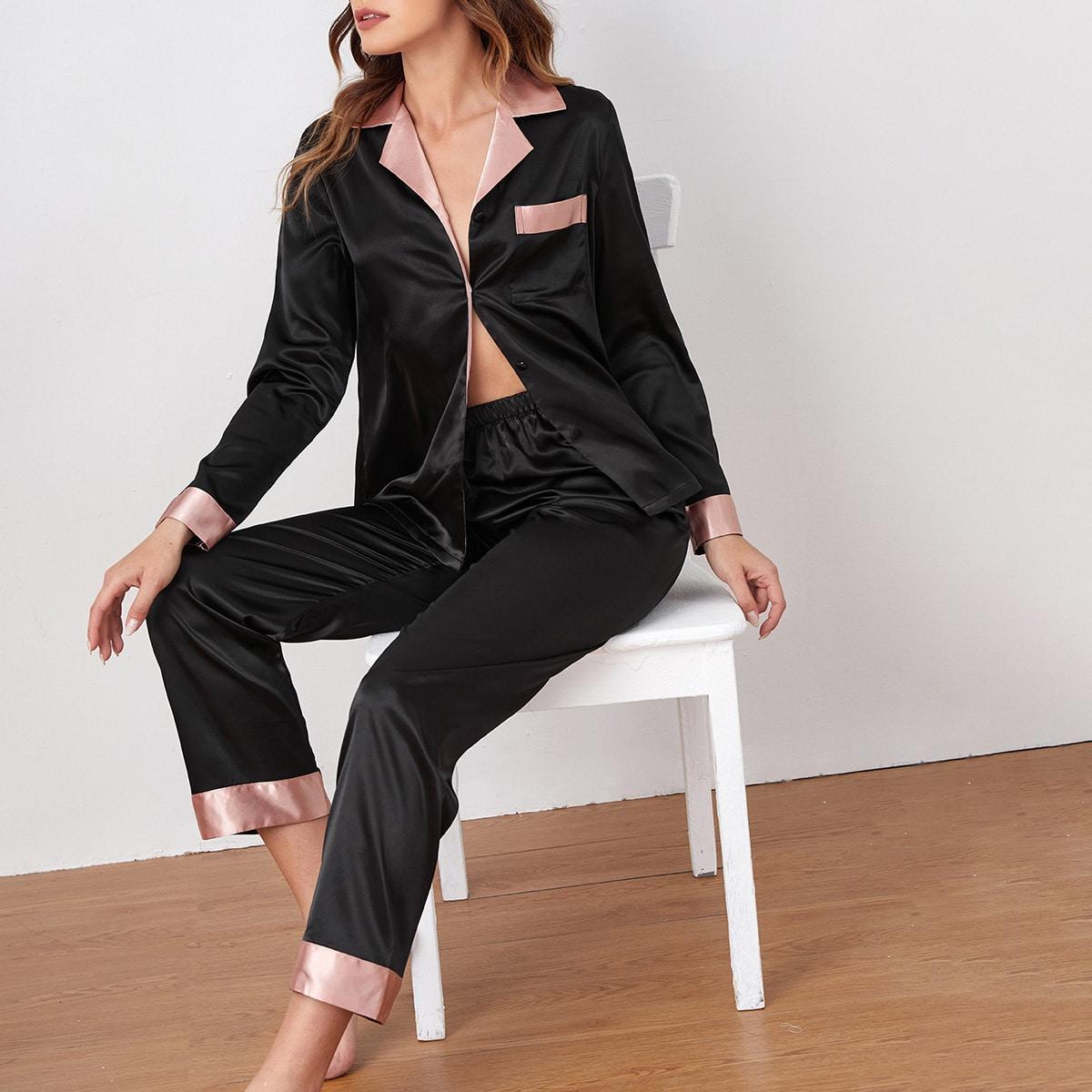 с карманами Контрастный цвет Минимализм Комплект пижамы