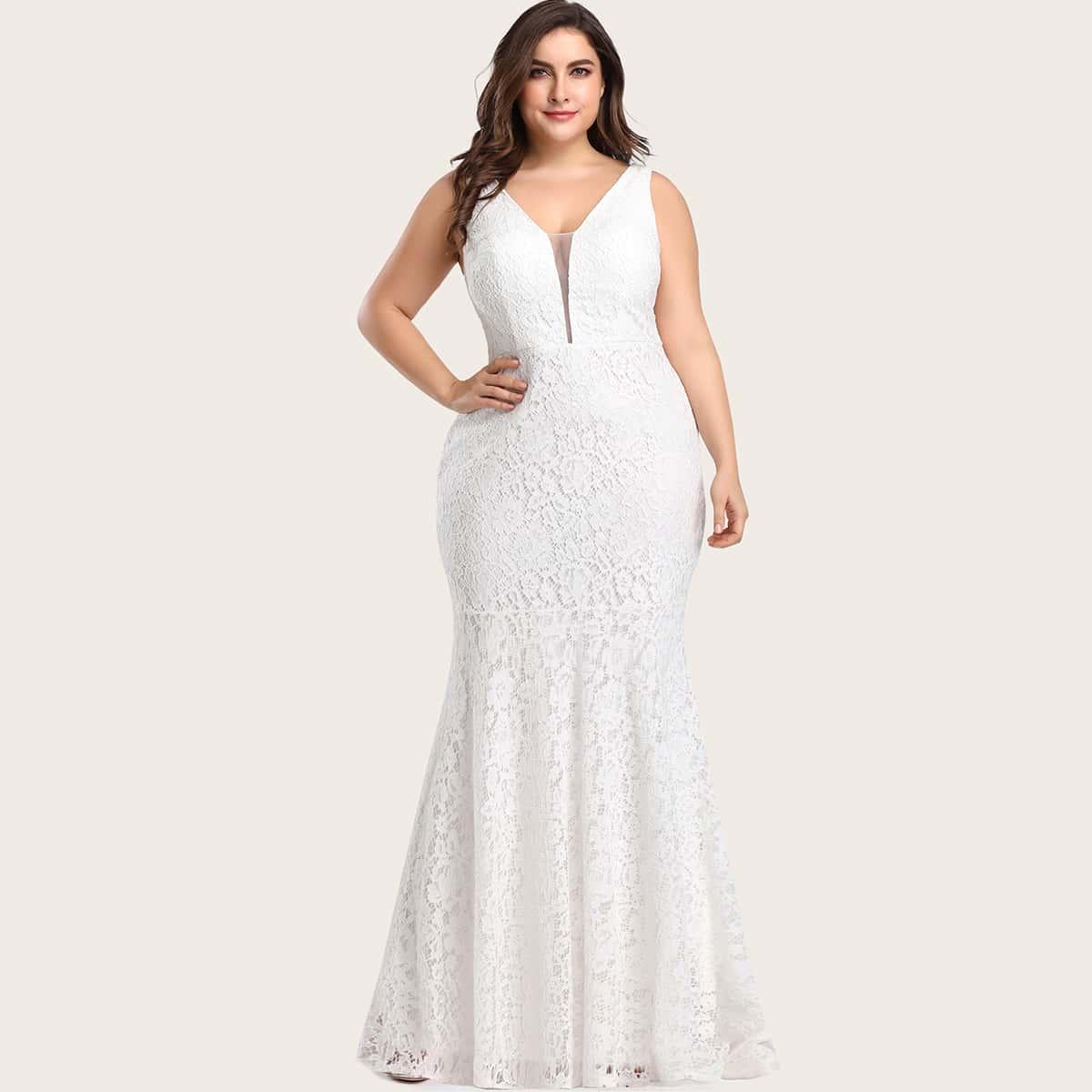 Кружевное платье-русалка размера плюс с сетчатой вставкой