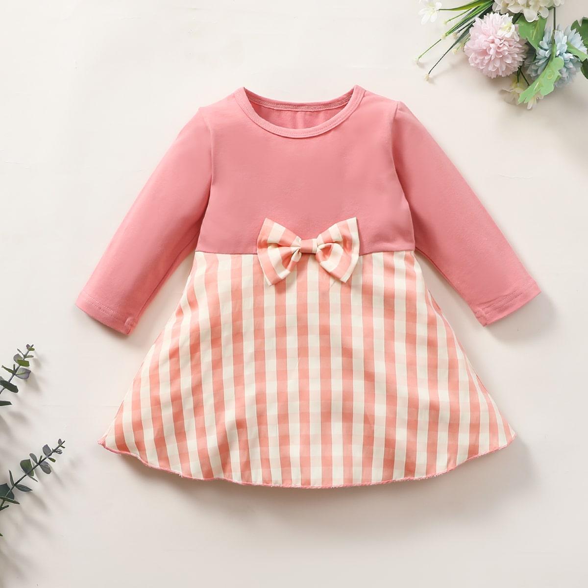 С бантм перед клетка милый платья для малышей