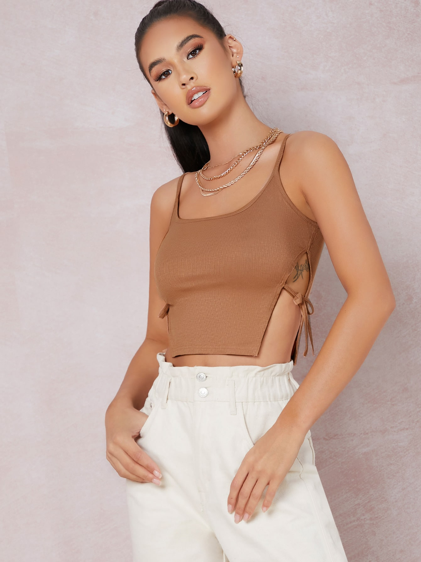 Ribbed Self-Tie Side Cropped Cami Top thumbnail