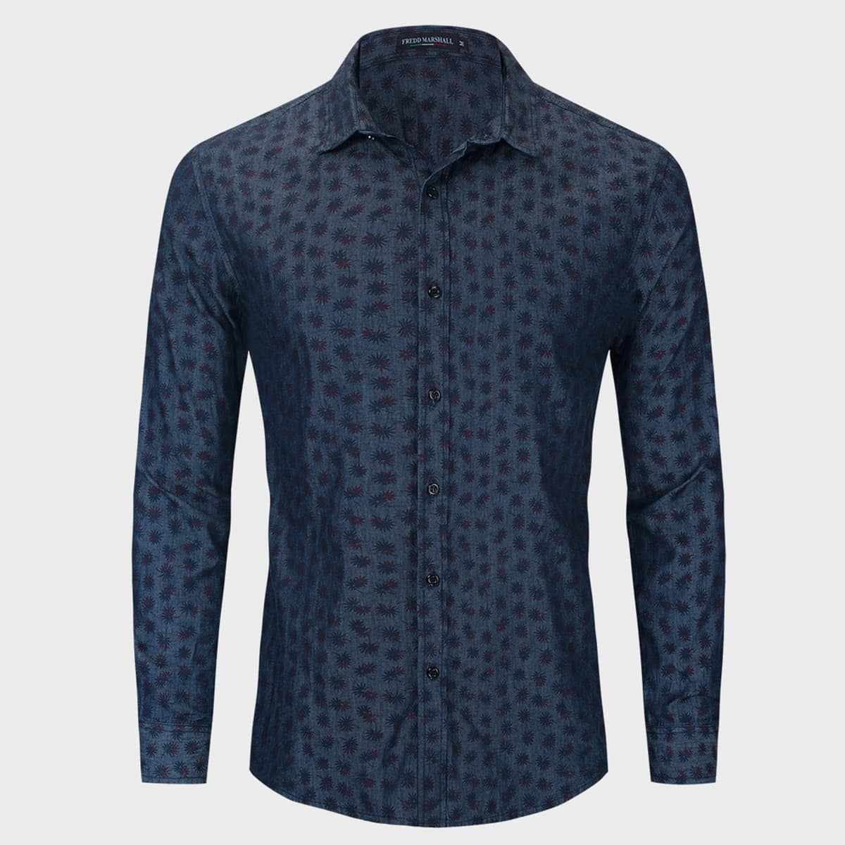 Пуговица цветочный повседневный мужские джинсовые рубашки