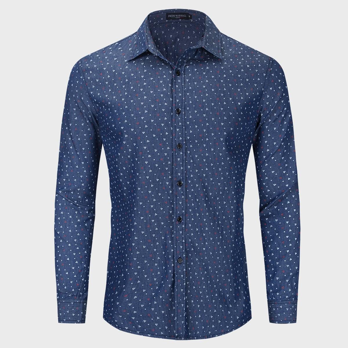 Пуговица Геометрический Повседневный Мужские джинсовые рубашки по цене 1 239