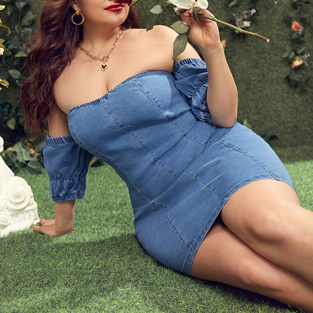 Одноцветный Бохо Джинсовые платья размер плюс