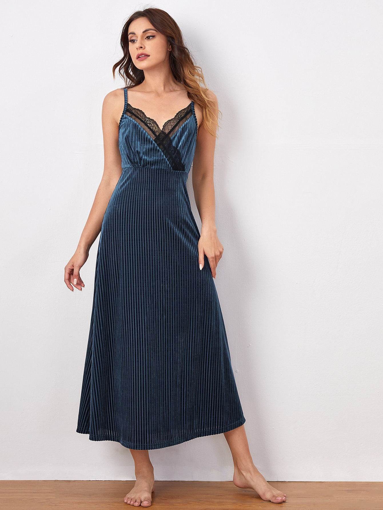 Lace Trim Rib-knit Velvet Slip Sleepdress thumbnail