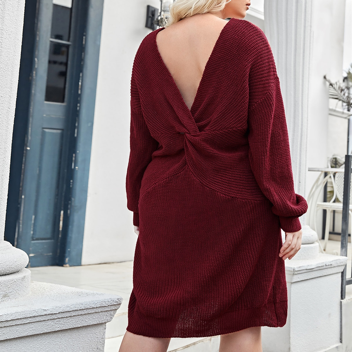 Открытая спина Одноцветный Повседневный Свитер-платье размер плюс
